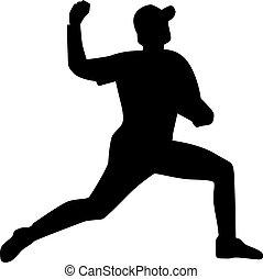 silhouette, cruche, base-ball