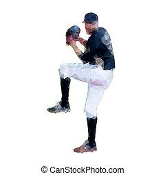 silhouette, cruche, -, joueur, vecteur, base-ball, ...
