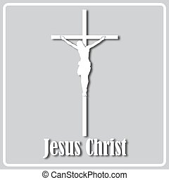 silhouette, crucifix, gris, blanc, icône