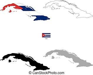 silhouette, cuba, paese, bandiera, sfondo nero