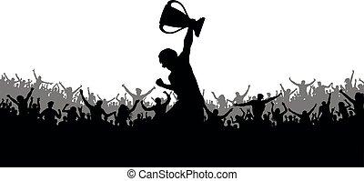 silhouette, cup., foule, applaudissement, ventilateurs, victoire, sport