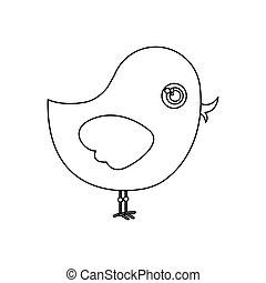 silhouette cute cartoon bird animal icon