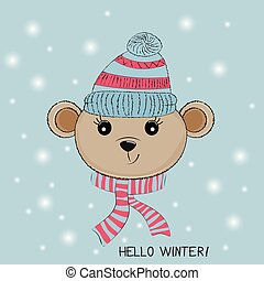 Silhouette Cute little bear with knitted cap and scarf.