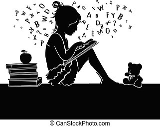 Silhouette cute little girl reading book with teddy bear