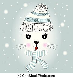 Silhouette Cute little kitty with knitted cap and scarf.