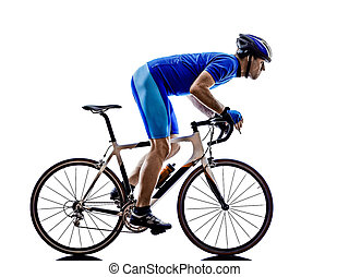 silhouette, cycling, straat, fietser, fiets