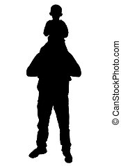 Silhouette Dad Son - Silhouette over white with clipping...