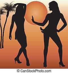 silhouette, dande, donne