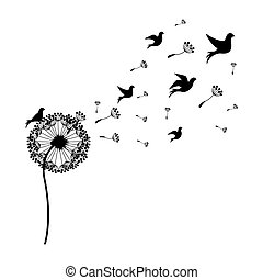 silhouette dandelion with fly birds