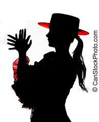 silhouette, dans, rouges, et, noir