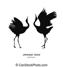 silhouette, danse, japonaise, deux, fond, blanc, grue