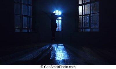 silhouette, danse, sauts, contemporain, danse, clair lune, danseur, gracieux, girl
