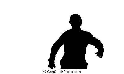 silhouette, danser., casque, ouvrier construction