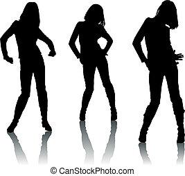 silhouette, danser, meiden