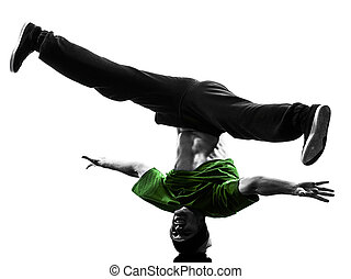 silhouette, danseur, jeune, coupure,  Breakdancing, homme, acrobatique