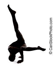 silhouette, danseur, mâle, flexible