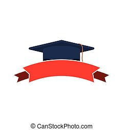silhouette dark blue graduation cap and red ribbon
