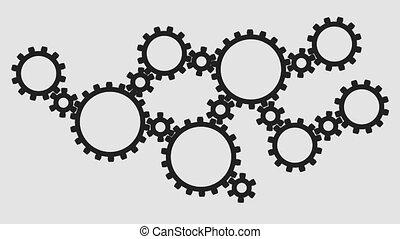 Silhouette dark gears on a white background