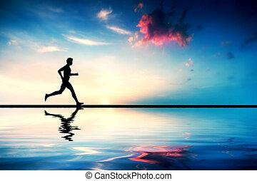 silhouette, de, équipez course, à, coucher soleil