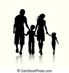 silhouette, de, a, famille