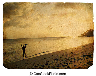 silhouette, de, a, homme, sur, les, plage., vieux, postcard.
