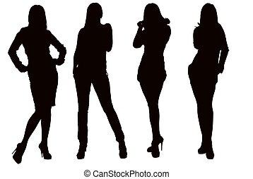 silhouette, de, a, jeune femme