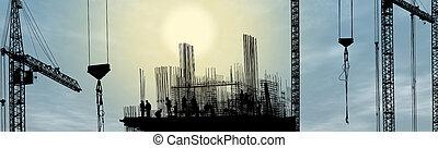 silhouette, de arbeider van de bouw