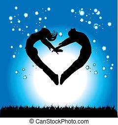 silhouette, de, couple, dans, les, formulaire, de, coeur