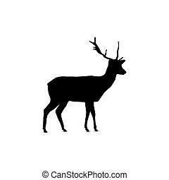 silhouette, de, deer.
