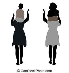 silhouette, de, deux femmes, à, childr