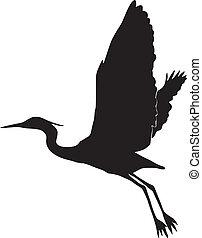 silhouette, de, egret