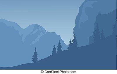 silhouette, de, falaise, à, les, nuit