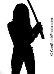 silhouette, de, femme, à, épée samouraï