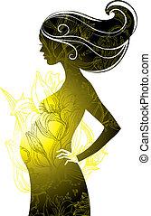 silhouette, de, femme enceinte