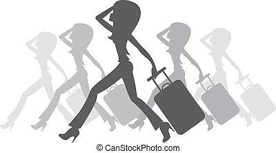 silhouette, de, femmes, à, a, valise