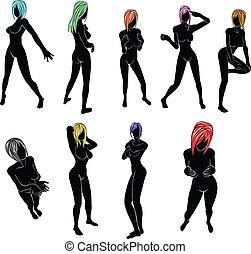 silhouette, de, femmes