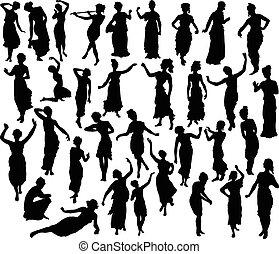 silhouette, de, grec, femme