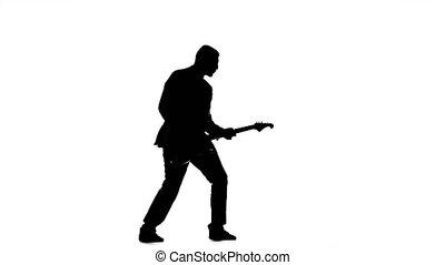silhouette, de, guitariste, jouer, viewer., basse électrique, guitare