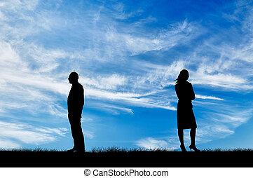 silhouette, de, homme femme, dans, a, querelle