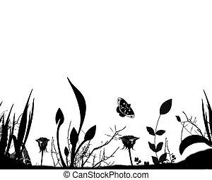 silhouette, de, jardin