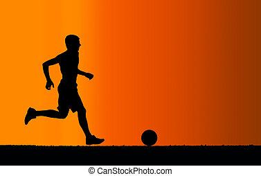 silhouette, de, joueur football, à, a, balle, sur, arrière-plan orange