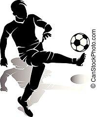 silhouette, de, joueur football, à, balle, marques, a, coup de pied, blanc, fond