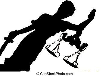 silhouette, de, justice dame