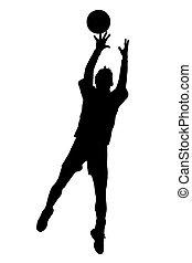 silhouette, de, korfball, hommes, ligue, joueur, sauter, à, prise, balle
