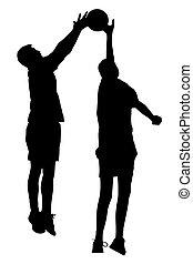 silhouette, de, korfball, hommes, ligue, joueurs, sauter, à, prise, balle