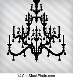 silhouette, de, luxe, lustre