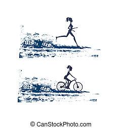 silhouette, de, marathon, coureur, et, cycliste, course