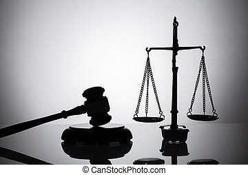 silhouette, de, marteau, et, balance justice
