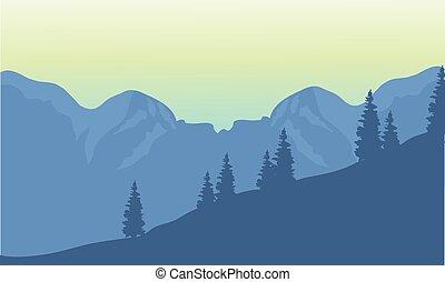 silhouette, de, pays montagne