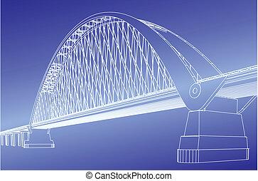 silhouette, de, pont porte or